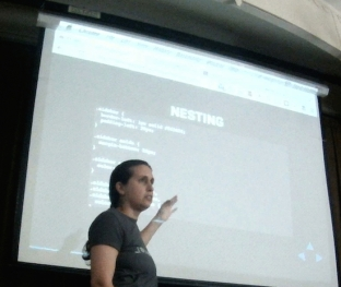 "Tracy Rotton delivers ""CSS Preprocessors + WordPress"" with sass."